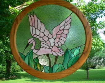 Stained Glass Flamingo Panel