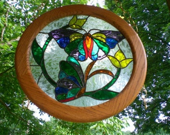 Butterfly Stained Glass Panel