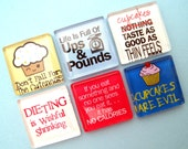 Dieting Square Glass Magnet Set
