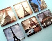 Eiffel Tower - Paris - Inch Square Glass Magnet Set