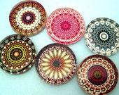 Mandala Magnets - Inch Circle Glass Magnets - Set of Six