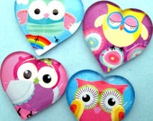 I Heart Owls Magnet Set - Handmade Magnets - Heart Shaped Glass - StuckTogetherMagnets