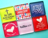 Scripture Magnets - Colorful and Inspirational - Inch Square Glass