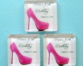 Hot Pink Stiletto Party Favor Magnets - Personalized 1 Inch Square Magnets - 30 Favors