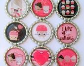 Bottle Cap Magnets - Cupcake Cuteness - Set of 9 Flattened Bottle Cap Magnets