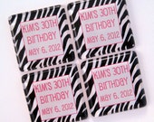 Zebra Magnet Favors - Birthday Favors - 25 Personalized Favors - 1 3/8 Inch Glass Squares