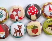 Woodland Critters Button Magnets - 1 Inch Button Magnets - Set of Eight Button Magnets