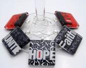 Wine Charms - Love Faith Hope - Set of Five Glass Wine Charms
