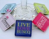 Bunco Wine Charms - Set of Five Glass Wine Charms