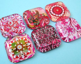 Bright Pink Magnets - Amazing Patterns - 1 Inch Premium Square Glass - Set of Six