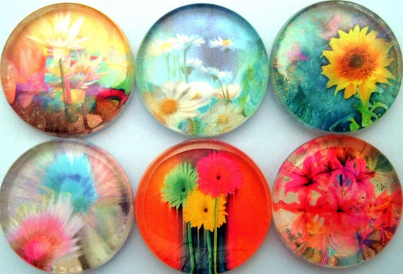 Handmade Magnets - Vibrant Neon Flowers - Art - Inch Circle Glass