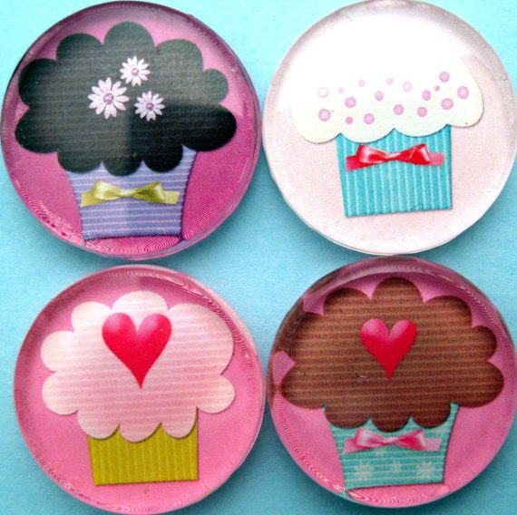 Cupcake Magnets - Pink and Purple - Inch Circle Glass