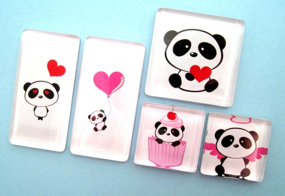 Cute Panda Magnets - Black, White and Pink - Various Sizes