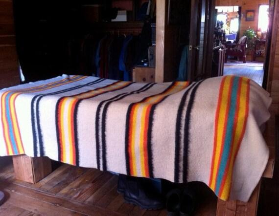 ORR Wool Blanket, Unique MULTISTRIPE On White Very NICE  A Fiesta Feeling
