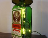 Jagermeister Bottle Lamp with Black Shade- Ready to Ship