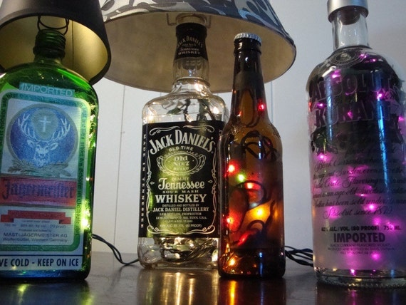 Items similar to custom made liquor bottle lamps you for Custom liquor bottles