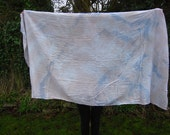 titanium chestnut and blue hand dyed organic cotton extra large tie dye scarf