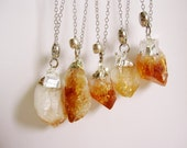 raw citrine crystal necklace point silver dipped natural stone pendant minimalist jewelry