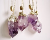 raw amethyst crystal necklace point gold dipped natural stone pendant minimalist jewelry