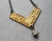 Vintage floral brass chevron geometric arrow neckace with pyrite cube