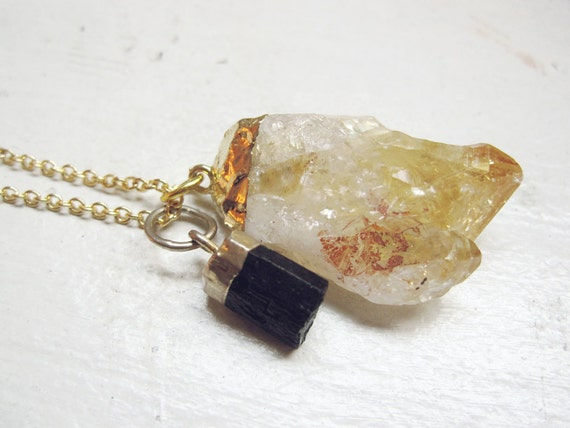 black tourmaline raw citrine crystal point gold dipped pendants necklace