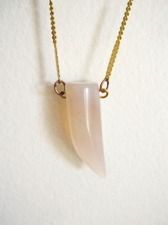 pink chalcedony crystal talon claw necklace with vintage brass chain