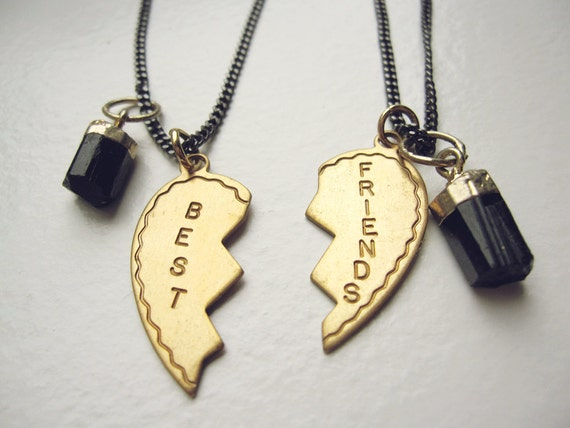 Two best friends heart charm necklaces gold dipped black tourmaline raw crystal pendant and vintage brass