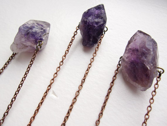 purple raw amethyst crystal point and vintage brass chain necklace