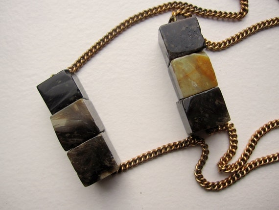 petrified wood botanical necklace - vintage brass chain with fossilized wood cubes