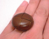 Vintage Leather Button Ring - Brown & Gold