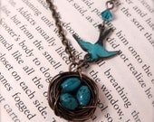 Birds Nest Necklace - Real Turquoise - Antique Brass