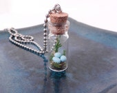 Terrarium Necklace with 3 Robin's Eggs - Blue