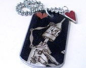 Aluminum Dog Tag Necklace - The Tinman & His Heart - Black, Red, Silver