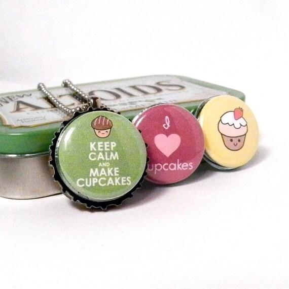 Interchangeable Bottle Cap Necklace - I Love Cupcakes