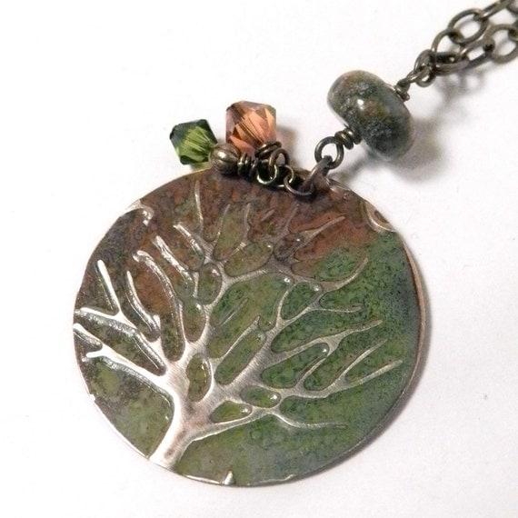 Tree of Life -  Embossed Brass Painted Metal Pendant Necklace - Green, Brown