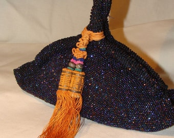 Vintage Art Deco bag/vintage evening bag beaded purse/twisted handle/oriental tassel/1930 beaded bag/1940 party bag/Oriental blue bag
