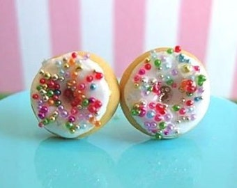 White Chocolate Donuts with Rainbow Sprinkles - Earring Studs