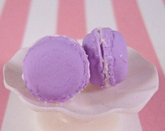 French Macaron Earring Studs - Light Purple