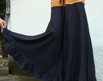 100 percent cotton wide leg pants black for Women