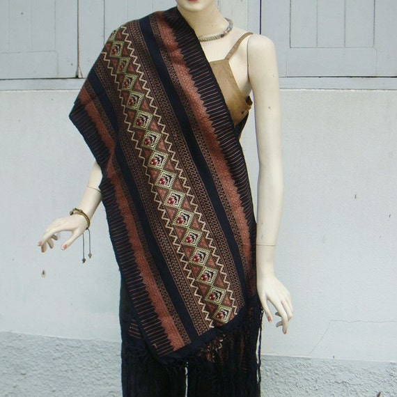 100 percent cotton silk shawl/scarf with hand woven embroidery