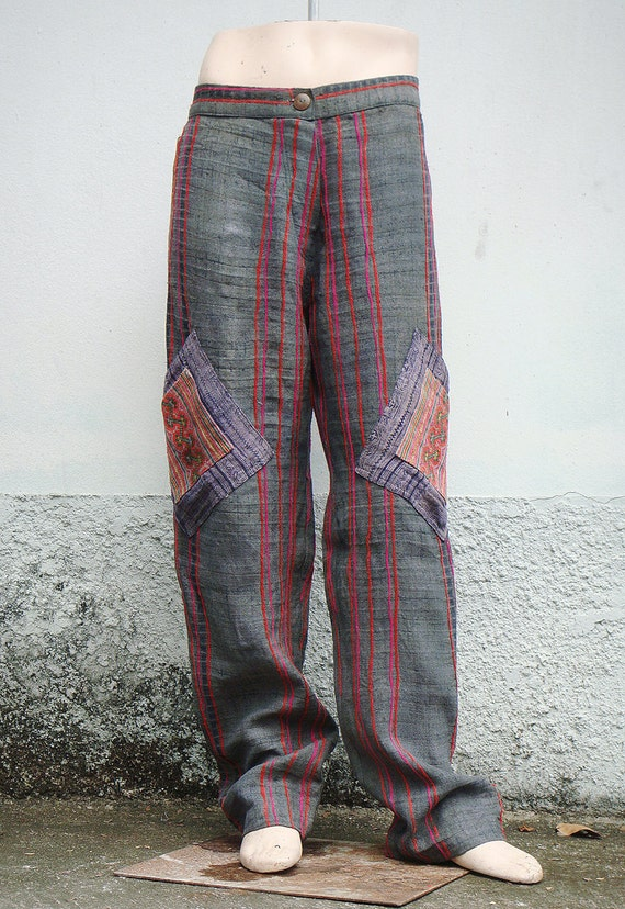 100 percent hemp pants with batik/embroidery for Men