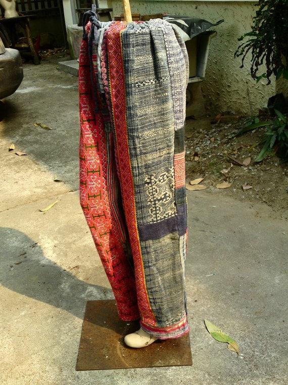 100 percent indigo hemp pants with batik/embroidery
