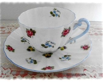 January Sale-Vintage Shelly Teacup and Saucer Set, Chintz Shelly Teacup and Saucer Ludlow Pattern, by EyeCandyandMore on Etsy