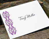 Personalized Note Cards Fancy Damask Set of Stationery