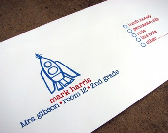 Personalized School Envelope for Money and Notes-Blast Off