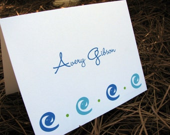 Personalized Stationery Set, Personalized note cards, Personalized Thank you note cards, Personalized Stationary Set / Modern Swirl Design