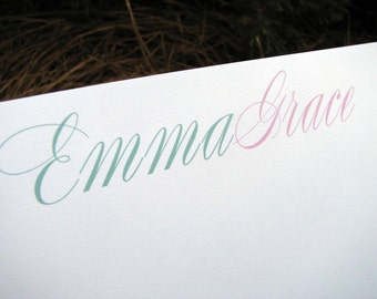 Personalized Flat Note Cards Set Emma