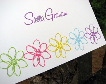 Personalized Note Cards - Personalized Stationery - Stationery Set - Personalized Notes - Thank You Notes - Note Cards - Doodle Flower