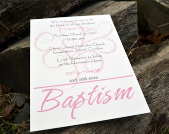 Girls Baptism Invitation or Announcement Beautiful Swirl
