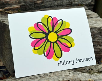 Personalized Stationery Set, Personalized Note Cards, Personalized Thank You Note Cards, Personalized Stationary Set - Contemporary Flower